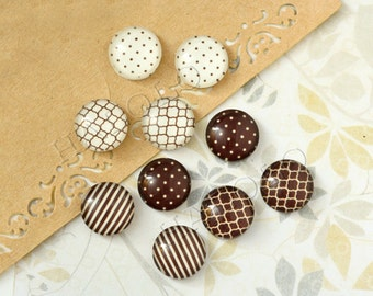10pcs handmade assorted brown and cream white round glass dome cabochons 12mm (12-91229)