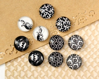 10pcs handmade assorted black and white round glass dome cabochons / Wooden earring stud 12mm (12-9929)