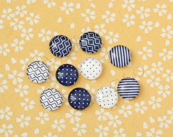 10pcs handmade assorted geometric deep blue and white round glass dome cabochons / Wooden earring stud 12mm (12-1088)