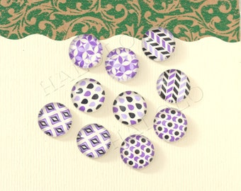 10pcs handmade assorted geometric purple round clear glass dome cabochons 12mm (12-91234)