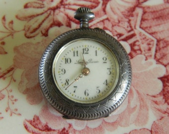 Vintage 1910 Sterling Silver Lady Rose Pocket Pendant Watch - BEAUTIFUL