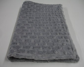 Gray Minky Burp Cloth Double Sided 9 X 18  READY TO SHIP
