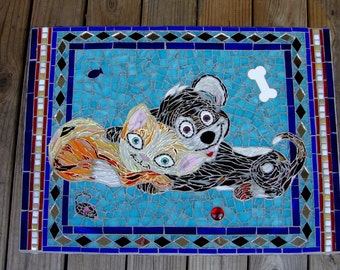"""Dog and Cat Stained Glass Mosaic titled """"Love is a Four Legged Word"""""""