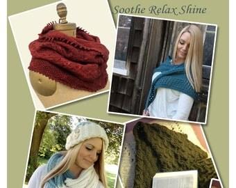 Knitting Patterns eBook Cowl Infinity Scarf Triangular Shawl Rectangular Shawl Hat Multiple Patterns in one PDF Download