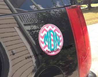 Chevron Monogrammed Car Magnet