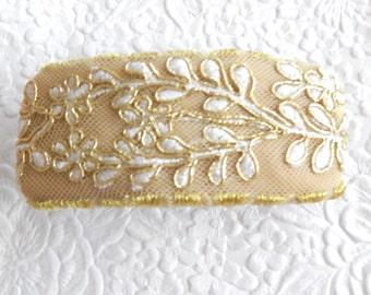 Gold/ivory barrette, embellished barrette, bridal barrette, beaded barrette, fabric barrette, hair accessory