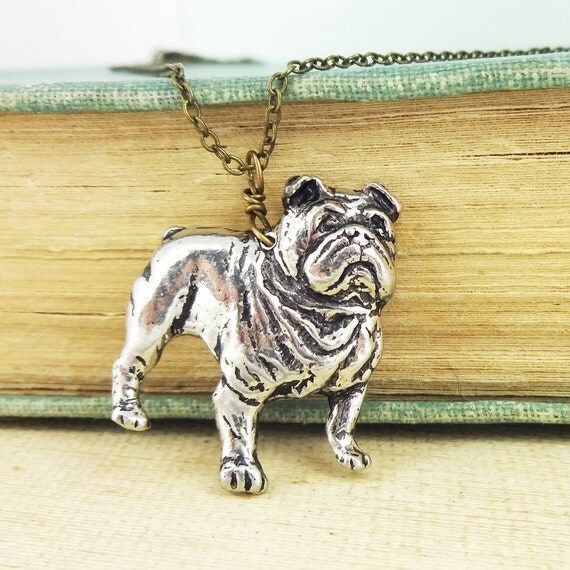 Bulldog Necklace. Antiqued Pewter and Antiqued Bronze Chain Necklace Pendant.