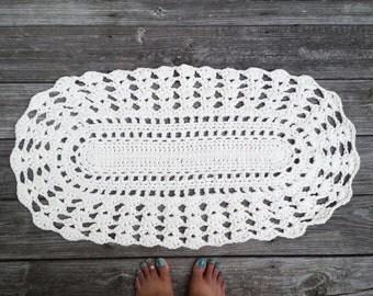 "Oval Shape Rug in Ecru Off White Cotton Crochet 19"" x 34"" Non Skid"