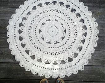 "Crochet Rug Ecru Off White Cotton 34"" Circle Pattern Non Skid"