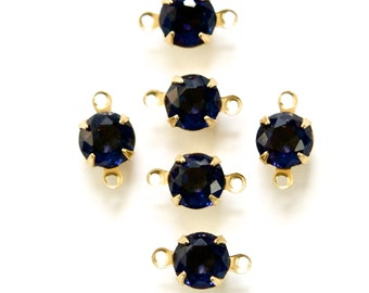 Vintage Faceted Sapphire Blue Glass Stone 2 Loop Brass Setting Drops rnd001P2