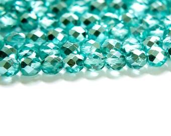 Czech Half Crystal Half Teal Blue Faceted Glass Beads 8mm (20) czh025A