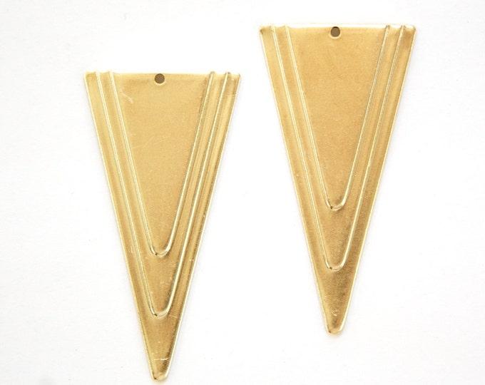 1 Bottom Hole Raw Brass Large Layered Deco Triangle Pendant (6) mtl200D