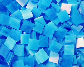 100 1/2 Inch Blue Moon Tumbled Stained Glass Mosaic Tiles