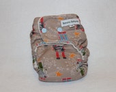 Final Clearance: small fitted bamboo velour cloth diaper with robots and stars on tan