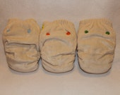 Final Clearance: 3 small bamboo / organic cotton velour fitted cloth diapers ready to be dyed or left au natural. save 15%