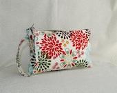 Square Wristlet  Zipper Pouch - Kennedy Floral