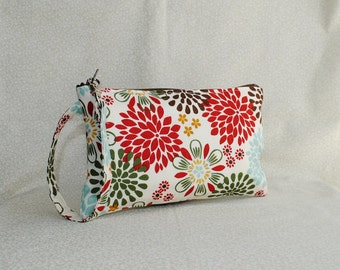 Square Wristlet  Zipper Pouch - Kennedy Floral