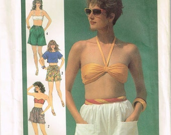 7519 simplicity Misses shorts with elastic or drawstring waist, pockets, sash sewing pattern size 10 12 14 waist 25 26.5 28 vintage 1980s