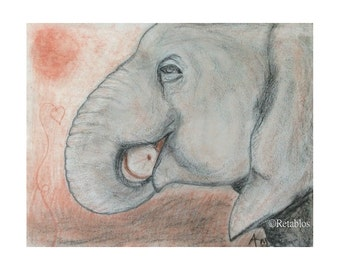 Proceeds Benefit Animal Rescue - Retablo Folk Art - Charcoal African Elephant, In the Wild, Nature Illustration, Sun on the Plains