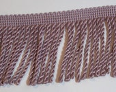 Pink Fringe, Pink Taupe Flag Bullion Fringe Sewing Trim 2 1/2 inches wide x 3 yards