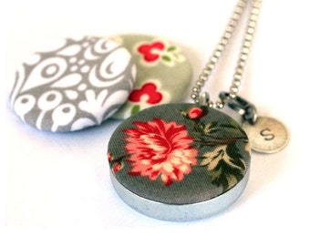Fabric Locket Necklace - Mirror Locket - Flower Locket - Stamped Custom Initial Necklace - Magnetic Jewelry - Upcycled Steel by Polarity
