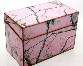 Reserved Wood Recipe Box Pink Camo Camouflage Fits 4x6 Recipe Cards