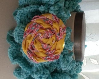 Crochet Neck Warmer Scarf  Scarflette Turquoise with Yellow/Coral Rose Brooch