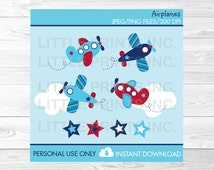Airplane Clipart / Airplane Aviator and Stars / PERSONAL USE Instant Download