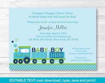Cute Choo Choo Train Baby Shower Invitation / Train Baby Shower Invite / Baby Boy Shower / INSTANT DOWNLOAD Editable PDF
