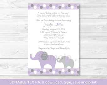 Purple Elephant Baby Shower Invitation / Baby Girl / INSTANT DOWNLOAD Editable PDF