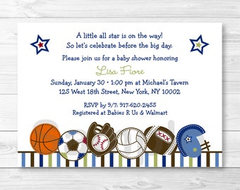 Cute Sports Baby Shower Invitation / Sports Baby Shower Invite / Baseball / Football / Soccer / Basketball / Baby Boy / PRINTABLE