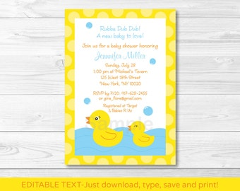 Cute Rubber Duck Baby Shower Invitation / Rubber Duck Baby Shower Invite / Baby Boy Shower / INSTANT DOWNLOAD Editable PDF