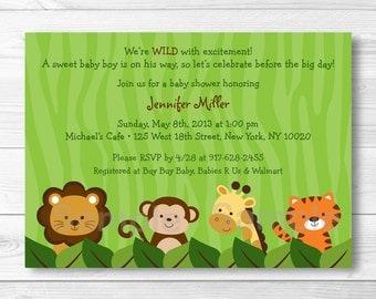 Safari Jungle Animal Baby Shower Invitation PRINTABLE