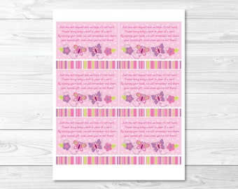 Butterfly Baby Shower Book Request Cards INSTANT DOWNLOAD A271