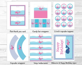 Pink Whale Birthday Party Package INSTANT DOWNLOAD