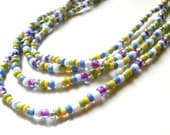 Long Seed Bead Necklace - Pastel Shades - 50 inches - Hippie Chic - Colourful Beaded Jewellery
