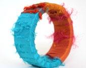 Turquoise Orange Sari Silk Bangle - Summer Style Feathery Fiber & Wood Bangle Bracelet - Anthropologie Style Cruisewear