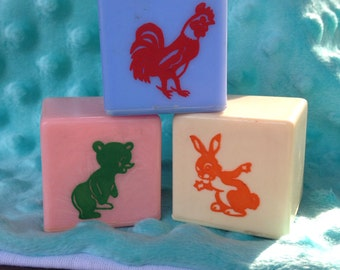 Vintage Animal and Letter Baby Blocks