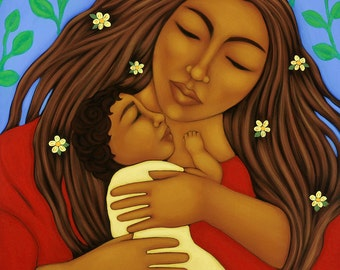 Mother & Child Folk Art Print of Midwifery Portrait Painting by Tamara Adams