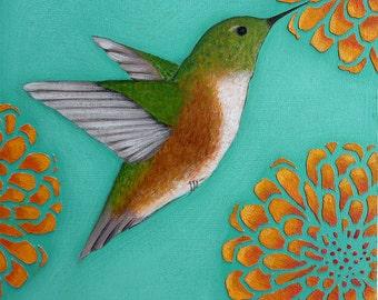 Hummingbird Folk Art Print of Original Painting By Tamara Adams