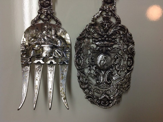 ON RESERVE  - 1909 Dutch 830 Silver Queen Juliana Baptismal Meat Serving Set made by H. Hooijkaas Fork Spoon