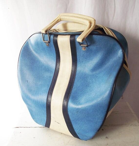 Vintage Bowling Ball Bag Brunswick Blue And White C. 1960s