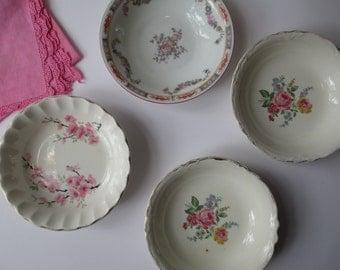 Vintage Mismatched Dessert Bowls Pink Floral Set of Four - Shabby Sweet