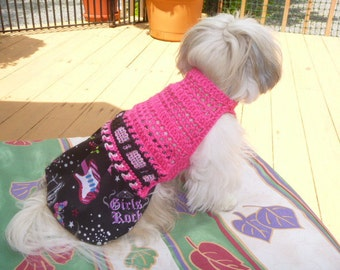 GIRLS ROCK n Roll Skirtter - Dog sweater dress - 2 To 20 Lb Dogs - Made to order