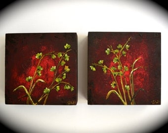 Green Asian Flowers Original Paintings