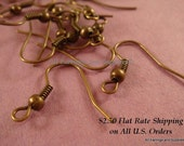 60 Antique Bronze Earwire NF Fishhook Ball Coil Plated Iron 18mm Ear Wires - 60 pc - F4015EW-AB60