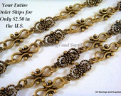 38in Antique Bronze Chain Butterfly Links, Cross Links and Rings Not Soldered - 3 ft 2 in - STR9039CH-AB38