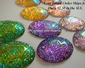 SALE - 10 Resin Cabochon Oval Assortment AB 25x18mm Flat Back - 10 pc - CA2039-AS10-AG