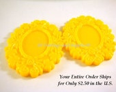SALE - 3 Yellow Cabochon Frame Resin Vintage Style 50x39mm takes 25x18mm Cab - 3 pc - A1006CF-Y50x40mm3