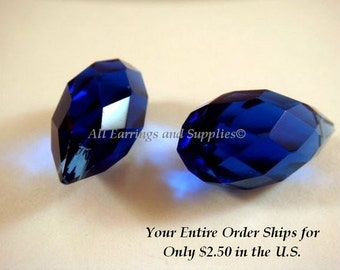 2 Blue Teardrop Crystal Beads Cobalt Blue Faceted Bead 22x11mm - 2 pc - 4661